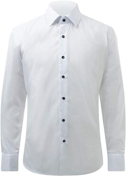 Dobell Camisa de Vestir Blanca Lisa con Cuello estándar y Botones ...