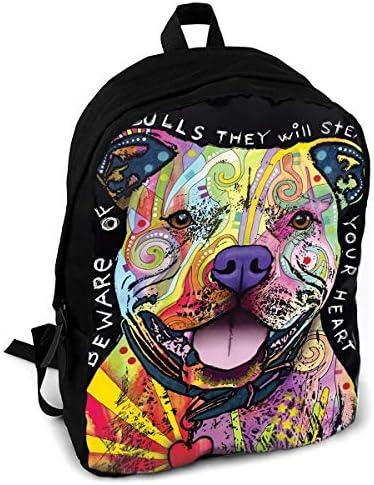PIT BULLS Dean Russo Dog Fashion Printing Adult Backpack Travel Hiking Knapsack