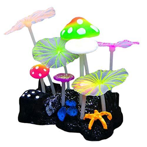 MHS Aquarium Glowing Mushroom Coral Lotus Decorations - Fish Tank Decoration Silicone Ornament,Eco-Friendly Glowing Artificia Aquarium Décor for Freshwater Saltwater Aquarium (5 Mushroom 4 Lotus) ()