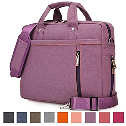 Laptop Shoulder Bag, 13 14 15.6 17 Inch Waterproof Durable Extensible Laptop Sleeve Case Messenger Bag Carrying Case Briefcase with Handle Strap for Lenovo / HP / MacBook / Asus(Purple,14.1 - Apple Coral Handle