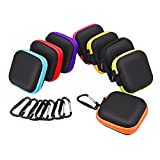 Sunmns 8 Pieces In Ear Earbud Earphone Headset Headphone Case Mini Storage Carrying Pouch Bag with Carabiners