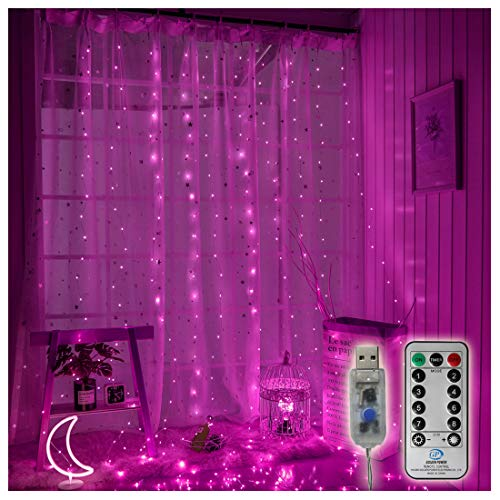 300 LED Copper Curtain String Lights 9.8ftx9.8ft Window Icicle Fairy Lights USB Powered 8 Modes with Wireless Remote Control for Home Bedroom Christmas Wedding Party Decor - Pink