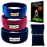 Hip Resistance Bands with Non Slip Design - Set of 3 - Low Medium High Resistance with Carrying Bag - Perfect for Squat Booty Glutes Hips and Legs Workout - Free Ebook - Yoga Pilates & Muscle Building
