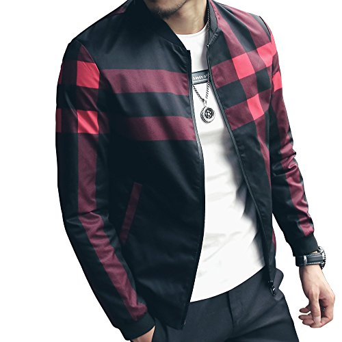 LOGEEYAR Men's Bomber Jacket Casual Slim Fit Printed Outerwear Coat (Large, black-red)