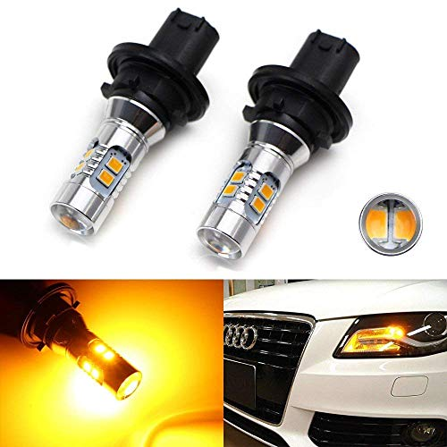 iJDMTOY (2) Amber Yellow Error Free PH24WY SPH24 12272 LED Bulbs For Audi Cadillac GMC,etc For Front Turn Signal Lights