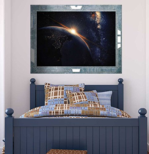 Science Fiction ViewPort Decal The Sun Rising Over the Earth Wall Mural