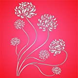 Oriental Mums Stencil - 6.5 x 8.5 inch (S) - Reusable Asian Chrysanthemum Wall Stencils for Painting - Use on Paper Projects Scrapbook Journal Walls Floor Fabric Furniture Glass Wood etc.