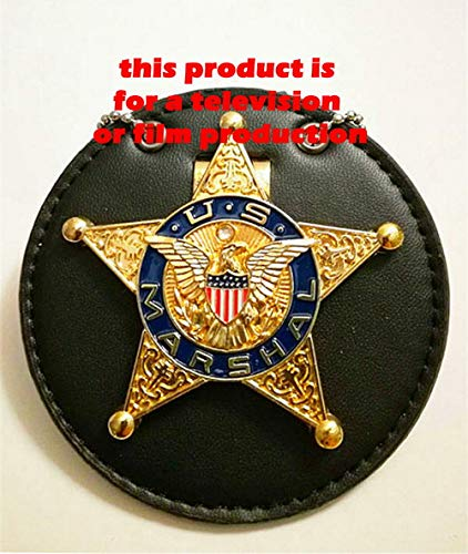 USMPC - U.S. Movie Prop Collection - Years 1930 Obsolete Vintage Gold Five-Pointed Star U.S.M. TV Series/Movie Prop with Holder &Neck Chain