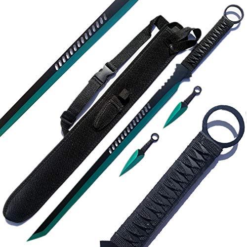 Ace Martial Arts Supply Ninja Sword Machete Throwing Knife Tactical Katana Tanto Blade, 27-Inch ... (Green)