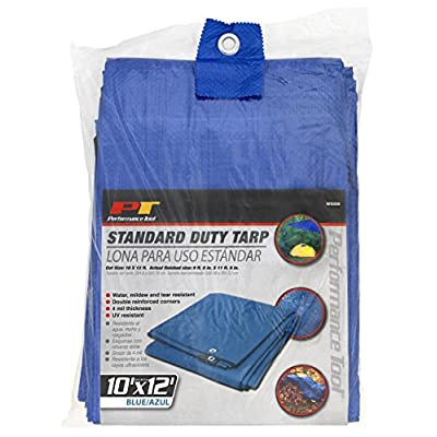 Performance Tool W6006 Reinforced Water Resistant Multi Purpose Blue Tarp, 4mil, 10-Feet x 12-Feet | Ideal for Tarpaulin Canopy Tent, Boat, RV Or Pool Cover | Perfect for Backpacking, Camping & Shelters