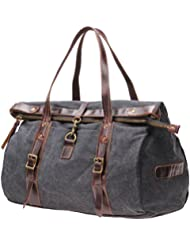 MSG Canvas Leather Lightweight Carry On Travel Tote Bag 19.7 Inch Handbag #S002