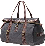 Cheap MSG Canvas Leather Lightweight Carry On Travel Tote Bag 19.7 Inch Handbag #S002