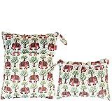 Damero 2pcs Pack Travel Baby Wet and Dry Cloth Diaper Organizer Bag, Elephants