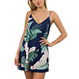 FELACIA Womens Spaghetti Sleeveless Printed Flower Style Casual Floral Mini Dress