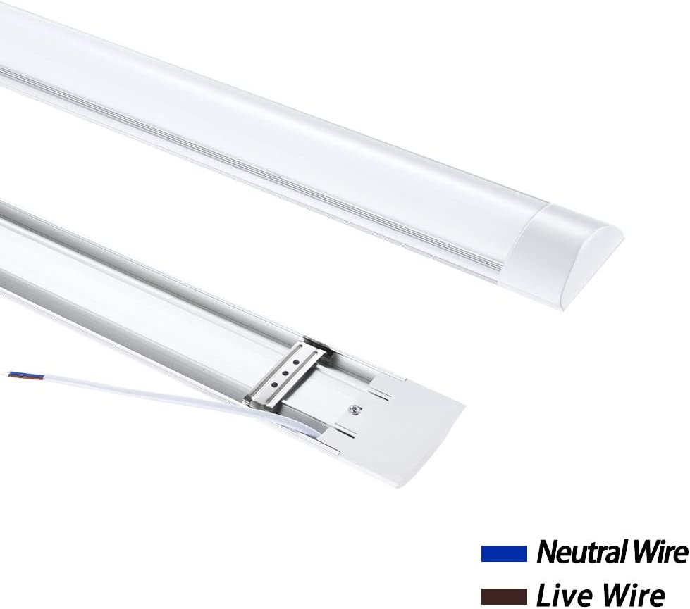 , Kuyal 4FT LED Batten Light Low Profile Wall or Ceiling Surface Mounted Fitting for Home//Shop//Office 72W EQV 40 Watt Cool White 6000k
