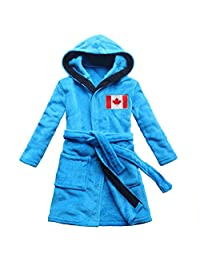 feetoo Canada Flag Embroidered boy Bathrobe Coral Velvet Free Embroidered Name