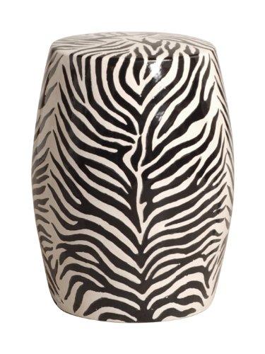 Modern Zebra Print Ceramic Garden Seat Stool by Kathy Kuo Home