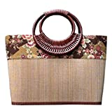 LYM Classic style art print hand rattan grass bamboo weaves carry sen department harajuku take female bag (Level Pattern)