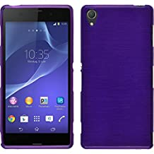 Silicone Case for Sony Xperia Z3 - brushed purple - Cover PhoneNatic + protective foils