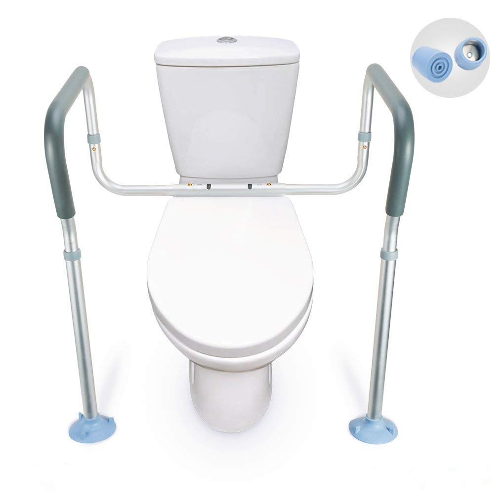 OasisSpace Toilet Rail - Medical Bathroom Safety Frame for Elderly, Handicap and Disabled - Adjustable Toilet Safety Handrail Grab Bar, 2 Additional Rubber Tips