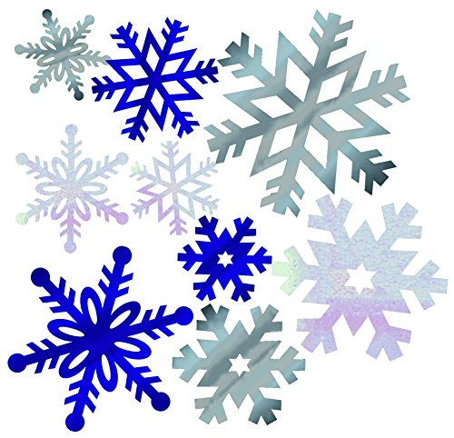 Creative Converting Wall Decor Cutouts, Foil Snowflakes, Silver/Blue -