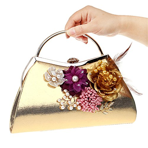 Clutch Silver Evening Wallet GXYCP Cosmetic Bag Shoulder Crossbody Women Bag For Flower Gold Wedding Bag Bag Party For aXdXqO
