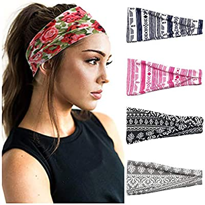 CapsA Women Men Yoga Sport Athletic Headband for Running Sports Travel Fitness Elastic Wicking Workout Non Slip Lightweight Multi Headbands (Black) : Sports & Outdoors