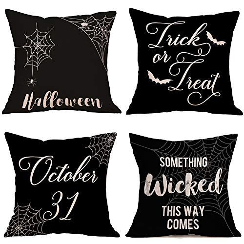 Royalours Throw Pillow Covers Happy Halloween Wicked Style Cotton Linen October 31 Halloween Decorative Cushion Covers Home Sofa Decor 18