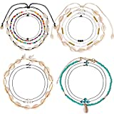 ONESING 14 Pcs Shell Necklace Choker Beads Pearl Shell Pendant Necklaces Natural Shell Choker Set Handmade Summer Hawaii Jewelry Adjustable for Girls Women (Color: 14 Pcs)