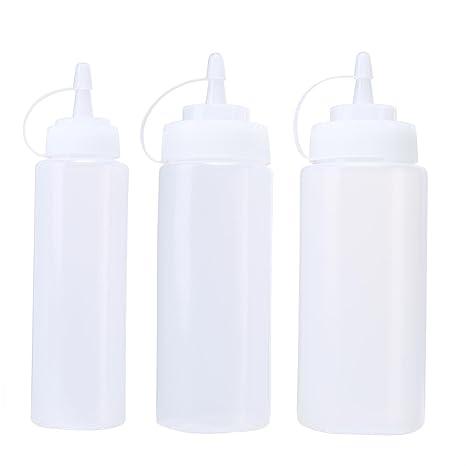 KOBWA Botellas de plástico con Tapas, dispensador de Botellas translúcido Blanco Apretado para Ketchup,