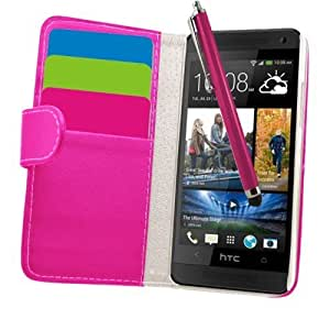 Samrick Executive Specially Designed Soft Leather Book Wallet Case with Credit Card/Business Card Holder with Screen Protector, Microfibre Cloth, High Capacitive Stylus Pen for HTC One Mini - Pink by SAMRICK