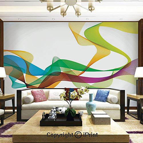 Lionpapa_mural Removable Wall Mural Ideal to Decorate Your Living Room,Artistic Wavy Ribbon Line and Smoke Rainbow Like Cool Graphic Artwork,Home Decor - 66x96 inches