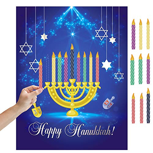Happy Storm Chanukah Games Pin The Candles on The Menorah Happy Hanukkah Games Party Accessories for Chanukah Hanukkah Party Supplies Favors Decorations with Reusable Hanukkah Candles Stickers