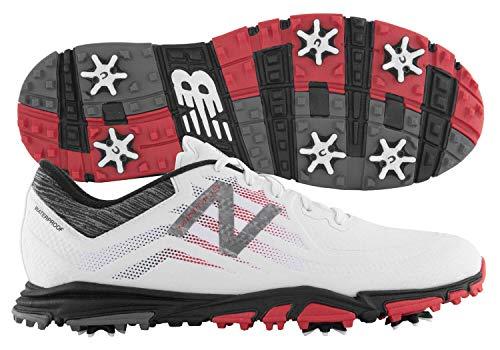 New Balance Men's Minimus Tour Waterproof Spiked Comfort Golf Shoe, White/red/Black, 10.5 D D US