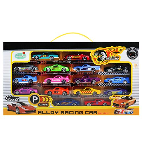 Die Cast Cars Mini Racers Toys Metal Model Vehicle 16Pcs Gift Pack Small Assorted Car Sets for Boys Girls Toddlers Kids Children Cool Party Favor Cake Decoration Easter Egg Fillers Stuffers -