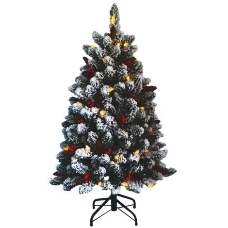 NORTHERN FOREST 4 FT. PRE-LIT FLOCKED TREE Flocked Christmas Tree Sale