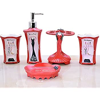 5 piece bathroom accessories set collection bath set features soap dispenser toothbrush holder tumbler u0026 soap dish red