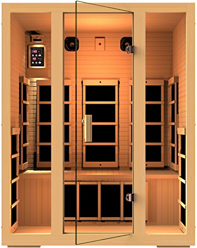 JNH Lifestyles Joyous 3 Person Canadian Hemlock Wood 8 Carbon Fiber Heaters 5 Year Warranty (Sauna Cedar)