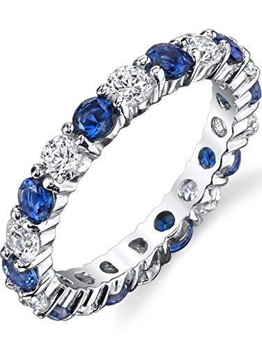 Blue Cubic Zirconia Ring - Sterling Silver 925 Eternity Ring Engagement Wedding Band With Simulated Sapphire Blue Color Cubic Zirconia 7