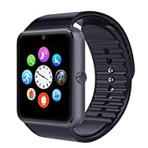 Wooboo GT08 Bluetooth Smart Watch GSM Quadband Wrist Watch Phone with SIM Card Slot Mate for Android Samsung HTC LG (Full Functions) IOS iPhone 5/5s/6/plus (Partial functions) (Black)