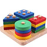Geometric Stacker Wooden Shape Color Sorting Recognition Educational Preschool Stacking Blocks Toddler Puzzles