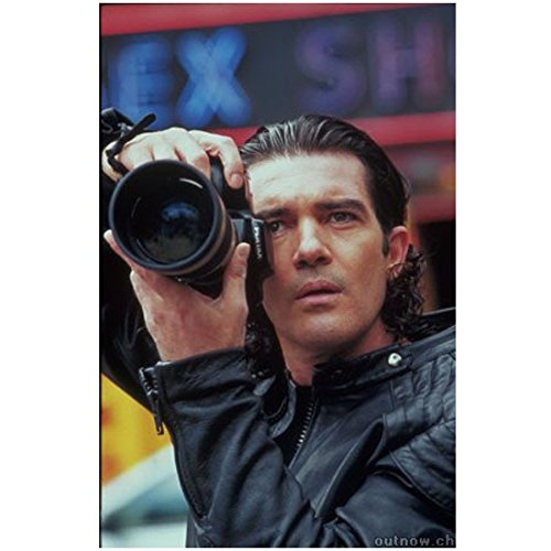 Antonio Banderas 8 x 10 Photo Black Leather Jacket Holding Camera Up to Face kn