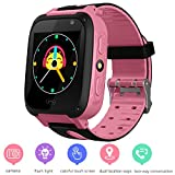 Kids GPS Tracker Watch for Boys Girls - Smart Wrist Watch with GPS Location SOS Alarm Clock Digital Watch Camera Flashlight Games for Children Compatible with iPhone/Android (01 S4 Pink)