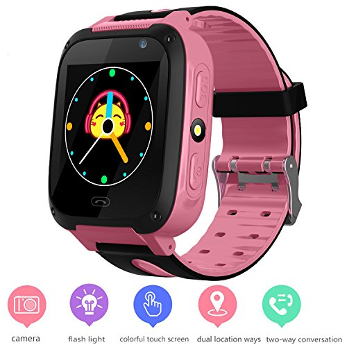 Kids GPS Tracker Watch for Boys Girls - Smart Wrist Watch with GPS Location SOS Alarm Clock Digital Watch Camera Flashlight Games for Children Compatible with iPhone/Android (01 S4 Pink) by PalmTalkHome