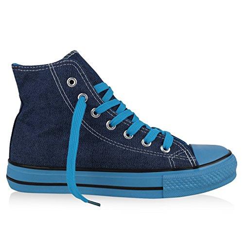 best-boots Damen High-Top Sneaker Schnürer Slipper Halbschuhe Sportlich Denim Blau Nuovo