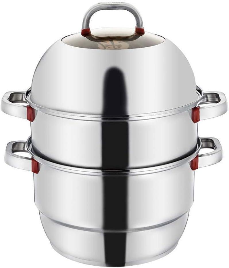 Vapor Pot 3 Nivel de utensilios de cocina de acero inoxidable de vapor Pot Saucepot de múltiples capas de la caldera de vapor de cocina Inicio Pot establecidas for todos los Cocinar con placa de cocin