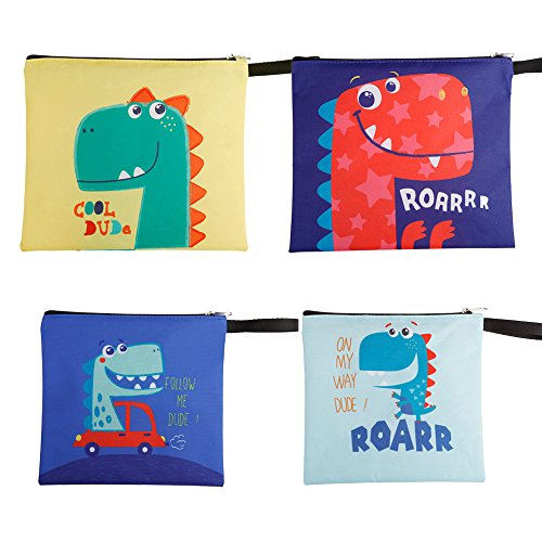 CHAUDER Reusable Snack & Sandwich Bags - Set of 4 – Eco Friendly, FDA Certified, Dishwasher Safe & Easy to Clean – Smooth Open Zipper - For Women, Kids To Office, School & Picnic (Dinosaur)