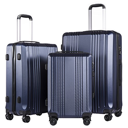 Coolife Luggage Expandable Suitcase 3 Piece Set with TSA Lock Spinner 20in24in28in (navy2)