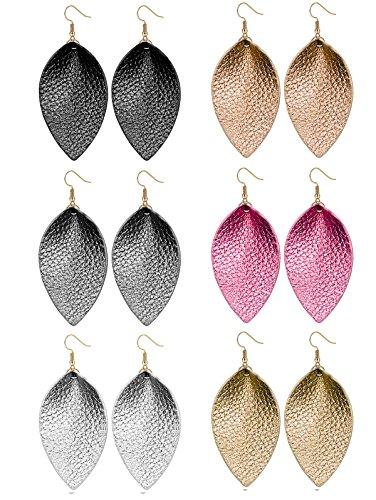 (LOLIAS 6 Pairs Teardrop Leather Earrings Set for Women Girls Leaf Dangle Drop Earring)