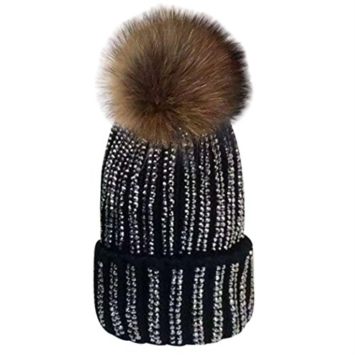 MIOIM Womens Girls Raccoon fur Big Pom Pom Beanie Diamante Knitted Bobble Hat